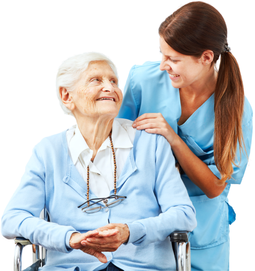 happy caregiver and senior woman on wheelchair